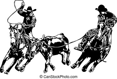 Two cowboys roping a steer, header and healer. vector