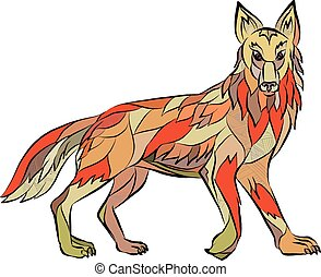 Drawing sketch style illustration of a coyote wild dog viewed from the side facing front set on isolated white background.