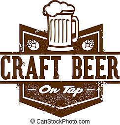 Distressed style craft beer on tap sign.