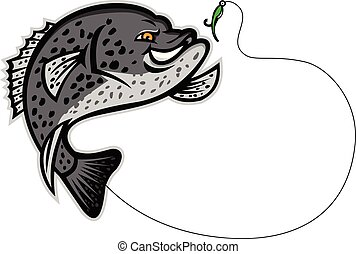 Mascot illustration of a black crappie, strawberry bass, speckled bass, specks, speckled perch, crappie bass or calico bass jumping for a single hook bait or lure isolated background in retro style.