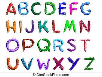 Crayon alphabet over white background.