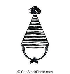 crayon silhouette of hand drawing monochrome party hat with several lines decoratives