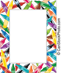 Multicolor crayon frame, copy space for announcements, posters, stationery, scrapbooks and fliers for back to school, home and office. EPS8 compatible.