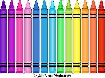 Set of crayons displayed in a horizontal spectrum