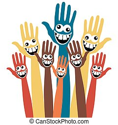 Large group of hands with crazy faces.