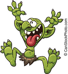 Crazy cartoon troll. Vector clip art illustration with simple gradients. All in a single layer.