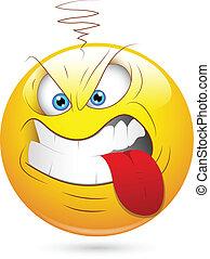 Creative Abstract Conceptual Design Art of Aggressive Smiley Teasing Face Vector Illustration