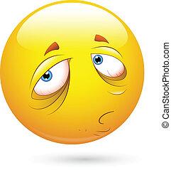 Creative Abstract Conceptual Design Art of Sleepily and Sad Smiley Face Vector Illustration