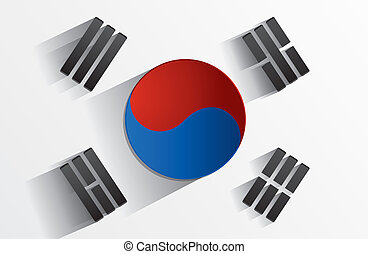Creative Abstract Flag of South Korea Backgroung