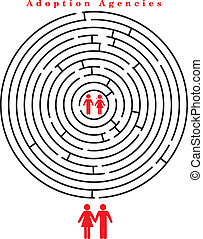 Children for adoption within the maze. Vector illustration.