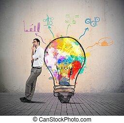 Businessman thinks of a new creative idea