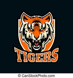 creative tiger head mascot and e-sport logo