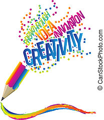Creativity concept with colorful pencil and creative theme words.