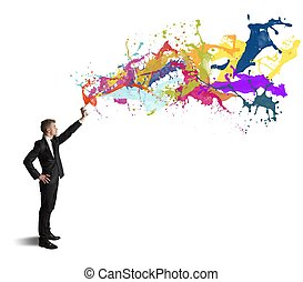 Concept of creativity in business on white background