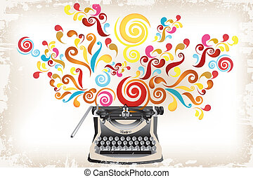 Creativity - typewriter with abstract swirls and grunge - eps10 vector illustration