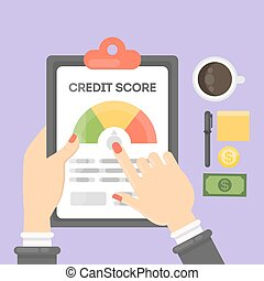 Credit score report. Hands holding documents with data.