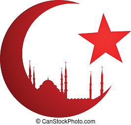 detailed illustration of the crescent moon with a mosque, eps10 vector