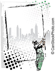 illustration of the cricket player in the frame