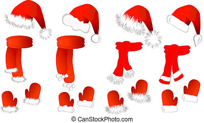 Christmas set: red santa claus hat, scarf and mittens on the white background. Vector illustration