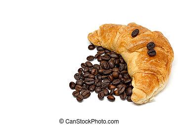Croissant coffee bean White background