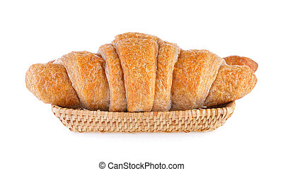 Croissant in basket on white background