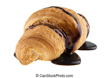 Croissant in chocolate isolated on white background