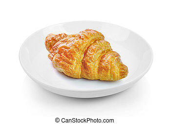 croissant in plate on white background