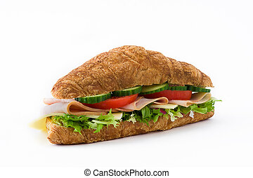 Croissant sandwich with cheese, ham and vegetables. Isolated on white background
