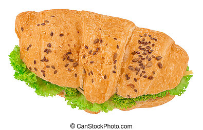 croissant sandwich with cheese isolated on white background