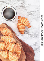 Croissants with a Hot Cup of Coffee