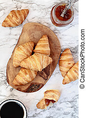 Croissants with Jam and a Cup of Coffee