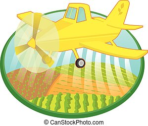 Cartoon crop duster spraying fields. Eps10