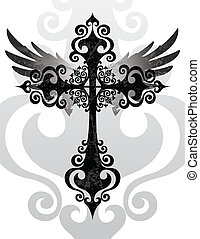 Stylized cross and angel wings