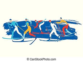 Cross country Ski Race, grunge stylized.