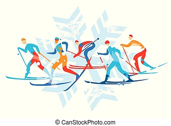Cross country Ski Race, with snowflake.