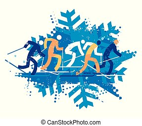 Cross Country Ski Racers, grunge stylized.
