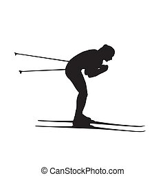 Cross country skier, skiing girl, isolated vector silhouette