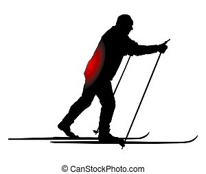 Cross-country skier with back pain