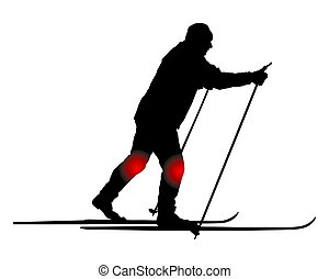 Cross-country skier with knee pain