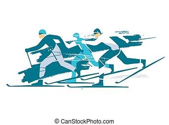 Cross Country Skiers, race