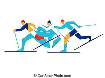 Cross Country Skiers,competition.