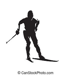 Cross country skiew, nordic skiing, isolated vector silhouette. Winter sport
