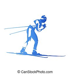 Cross-country skiing, abstract geometric vector silhouette