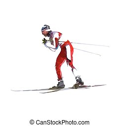 Cross country skiing, abstract geometric vector skier. Side view