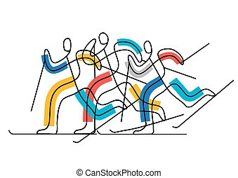 Cross-country skiing competition, line art stylized.