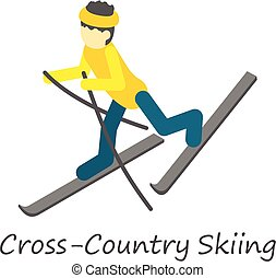 Cross country skiing icon, isometric style