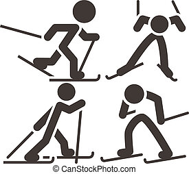 Cross-country skiing icons set