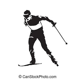 Cross country skiing, individual winter sport. Skier abstract vector silhouette