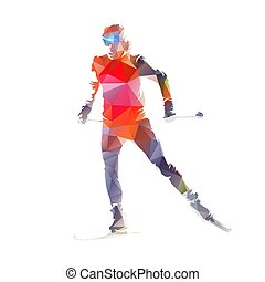 Cross country skiing, isolated low polygonal vector skier illustration