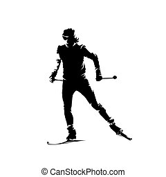 Cross country skiing, isolated vector skier silhouette